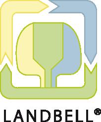 Landbell Logo - Unsere Pflanzen produzieren wir in Töpfen, die zu 100% aus Recyclingmaterial bestehen.